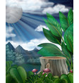 scene with fullmoon over the forest vector image vector image