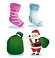 set christmas socks and santa claus with bag vector image vector image