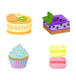 set of cute cakes isolated on white background vector image vector image