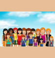 set of female icons in flat style vector image vector image