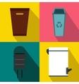 Trash bin garbage banners set flat style vector image