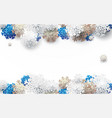 white gold and blue snowflakes backgroud vector image