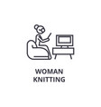 woman knitting thin line icon sign symbol vector image vector image