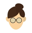 woman with hair up and glasses icon vector image