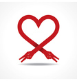 Victory hands make heart shape vector image