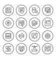 set round line icons of web development vector image