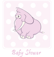 A baby shower card with a little pink elephant vector image