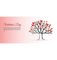 valentines day background with tree and hearts vector image