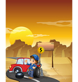 A road with a broken red car near an empty vector image vector image