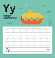 alphabet y worksheet learning english vocabulary vector image vector image
