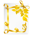 Autumn background with yellow leaves and gold vector image vector image