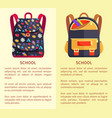 back to school poster with backpack for child icon vector image vector image