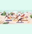 beach yoga class flat people vector image