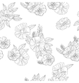 black and white flowers on white background vector image vector image