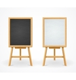 black board and white set on easel front view vector image vector image