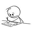 cartoon man or businessman hand writing or vector image vector image