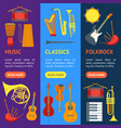 cartoon musical insrtuments banner vecrtical set vector image vector image