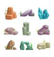 cartoon stones and rocks assets set vector image