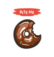 chocolate donut with text bite vector image