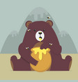 cute bear eating sweet honey vector image