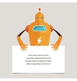 Cute robot character with a banner vector image vector image