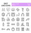 diet line icon set sport symbols collection vector image vector image