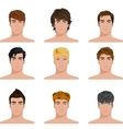 Different hairstyle men faces icons set vector image