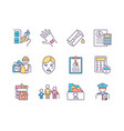 disability insurance rgb color icons set vector image