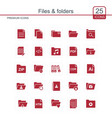 files and folders icons set red vector image