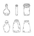 glass bottles doodles design for vector image