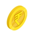 Gold coin with rupee sign icon isometric 3d style vector image vector image