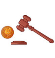hammer of judge and bitcoin - cryptocurrency legis vector image vector image