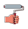 hand with paint roller vector image