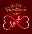 happy valentines day golden text and fluid 3d vector image