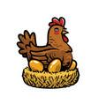 hen laying eggs in nest chicken cartoon vector image