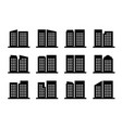 icons company and buildings set black office vector image vector image