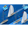 isometric sailships in navigation vector image vector image