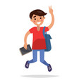 jumping brunette student with book and briefbag vector image vector image