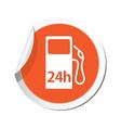 petrol station 24h ORANGE LABEL vector image vector image