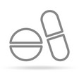 pills medicine pharmacy icon in trendy thin line vector image
