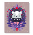 polar bear with sweater leaves foliage merry vector image vector image