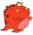 Red dinosaur cartoon character vector | Price: 1 Credit (USD $1)