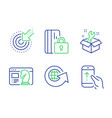 seo strategy spanner and world globe icons set vector image vector image