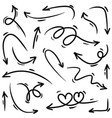 set hand drawn arrows doodle on white vector image vector image