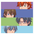 set of male face anime vector image vector image