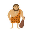 stone age primitive man in animal hide pelt vector image