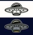 ufo in two styles black and colored vector image vector image