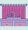 washbasin cabinet and curtain bathroom vector image vector image