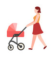 woman walking with stroller young female vector image
