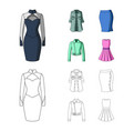 women clothing cartoonoutline icons in set vector image vector image